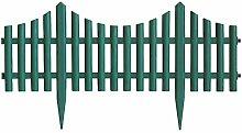 4er Set Beeteinfassung Gartenzaun Zierzaun Beetabgrenzung Lattenzaun Dekozaun Kunststoffzaun Beetumrandung Zaun 60,5x33cm - Grün