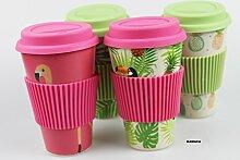 4er Set Coffee to go Becher / Thermo - Kaffee -Becher - Silikondeckel - 400 ml umweltfreundlich- mehrfach verwendbar - organische Bambus Faser -spülmaschinenfest(4er Set : Flamingo+Palme+Tukan+Ananas)