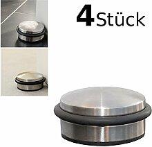 4er Set DESIGN Türstopper flach ca. 10x4cm Türpuffer Tür Stopper Halter Puffer Edelstahl-Design - für alle Arten von Böden z. B. Stein, Parkett, Linoleum oder Teppich