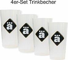 4er Set - Die Ärzte ä - Trinkbecher - Becher - Kunststoffbecher 0,4l [4 Stück]