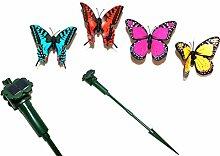 4er Set Drehende Tanzende Flatternde Solarschmetterlinge Solar Figur Schmetterlinge Garten & Balkon Dekoration mit Solarenergie oder Batteriebetrieb inkl. 4 AA 1,5V Ambe Batterien & 4 Erdspieße NEU