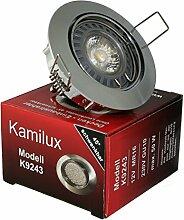 4er Set Einbaustrahler Merry 5W Power LED 230V Warmweiß Farbe Chrom