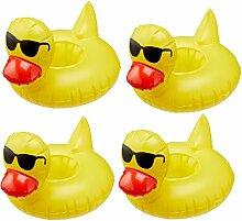 4er Set Ente Sonnenbrille Gummiente aufblasbarer