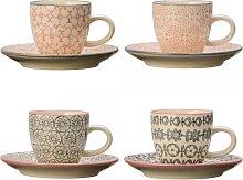 4er SET Espressotassen CECILE, rosa + grau, Ø 6cm, H 5,3cm, rund, Bloomingville (64,00 EUR / Stück)