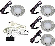 4er Set flache LED Einbauleuchte Möbelleuchte