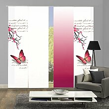 4er-Set Flächenvorhang, Deko blickdicht, ALESSIA, Höhe 245 cm, 2x Dessin fuchsia/1x uni weiß blickdicht/1x Farbverlauf fuchsia