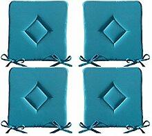 4er Set gepolsterte Sitzkissen - Stuhlkissen -