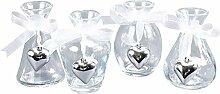 4er Set Glas Vasen H=10 cm Herzen Silber Anhänger