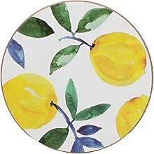 4er Set Glasuntersetzer Lemons Zitrone weiß gelb