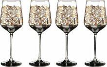 4er Set Gustav Klimt Weinglas Der Lebensbaum H.