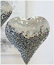 4er Set Hängedeko HERZ MOSAIK Metall Glas Keramik