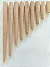 4er Set Holz Tischbeine aus massivem Naturholz -