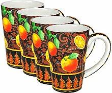 4er Set Kaffeebecher im Orange Design - 0,35L