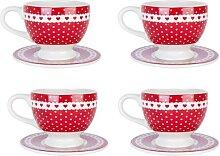 4er SET Kaffeetassen mit Untertasse PUNKTE + HERZEN H. 8cm weß rot Clayre & Eef (34,95 EUR / Stück)