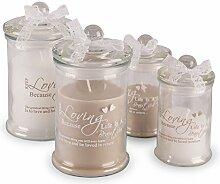 4er Set Kerzen Vorratsglas 14cm 11cm Weiß Beige Spruch Geschenkidee Glas Deko