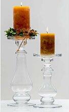 4er SET Kerzenhalter, Kerzenständer SHINE Glas H