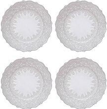 4er SET Kuchenteller Dessertteller EMBOSSED D. 15,5cm grau Keramik Creative Tops (49,95 EUR / Stück)