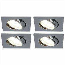 4er Set LED Einbau Decken Lampen Chrom Ess Zimmer