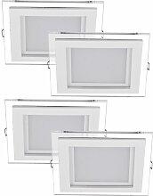 4er Set LED Einbau Spots silber Wohn Zimmer