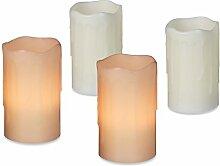 4er Set LED Kerzen, Echtwachs, elektrische Kerzen,