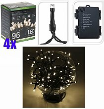 4er Set LED Lichterkette 96 LEDs warmweiß