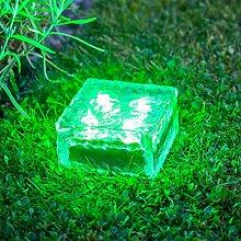 4er Set LED Solar Glas Pflastersteine Wegbeleuchtung grün groß Lights4fun