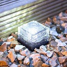 4er Set LED Solar Glas Pflastersteine Wegbeleuchtung weiß klein Lights4fun