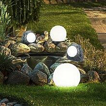 4er Set LED Solar Lampen Kugel Steck Leuchten