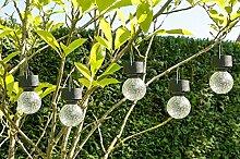 4er-Set LED Solaranhänger Kristallglas, Gartenkugel, Solarlampe, Echtglas, Gartendeko, Bruchglasoptik