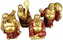 4er Set Mini Glücksbuddha 7 x 5 cm Glücks Buddha