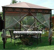 4er-Set Moskitonetze zum Pavillon 'Safari'