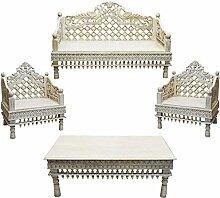 4er Set Orientalische Lounge Sitzecke aus Holz
