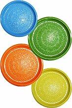4er SET Orientalisches rundes Tablett aus Metall Tatmanur Bunt 40cm groß | Marokkanisches Teetablett Bunt | Orient Serviertablett Rund Rutschfest | Orientalische Dekoration auf dem gedeckten Tisch