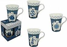 4er Set- Porzellan- Große Tasse, Kaffeepott, Becher- in dekorativer Geschenkebox- Leuchtturm,Schiff, Anker, Windrose H 11 cm- Auch freie Motivwahl möglich