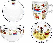 4er Set- Porzellan- Teller, Müslischale, Tasse,