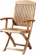 """4er Set! Premium Klappstuhl """"Brighton mit Armlehnen"""" aus Teak-Holz   ✓ Edler Gartenstuhl für Wintergarten ✓ Wetterfestes sowie klappbares Terrassen-Möbel & Balkon-Möbel ✓ Praktischer Klapp-Sessel mit Fingerklemmschutz"""