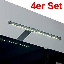 4er Set SO-TECH® LED Aufbauleuchte / Chrom matt / Lichtfarbe warm weiß / Schrankleuchte / Spiegelschrankbeleuchtung / Spiegelleuchte / Badleuchte