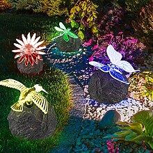 4er Set Solar Außen Garten Leuchte Farbwechsler