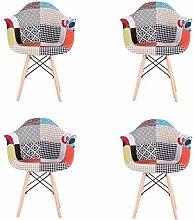 4er Set Stuhl Retro,Patchwork Esszimmerstuhl mit