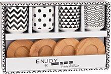 4er-Set Tassen mit Untertassen aus Porzellan