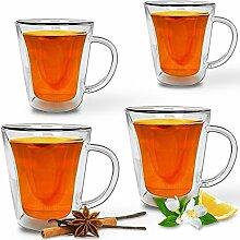 4er Set Teegläser Teetassen aus Thermo Glas mit