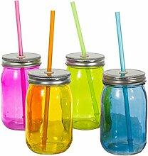 4er-Set Trink-Gläser Weckglas mit Trinkhalm und Deckel Bun