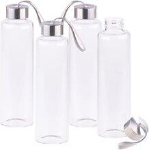 4er-Set Trinkflaschen aus Borosilikat-Glas, 550