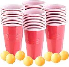 4er-Set Trinkspiel-Set Bier Pong, je 24 Becher (je