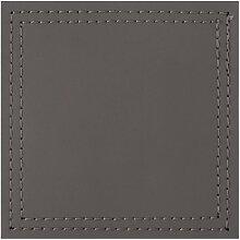 4er Set Untersetzer BONDED Kunstleder grau 10x10cm