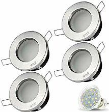 4er Set VENEDIG RUND (Matt-Chrom) IP44 230V LED