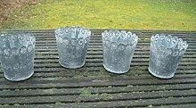 4er -Set Windlichter Teelichthalter Gartendeko Mini-Pflanztopf Eisen Antikgrau