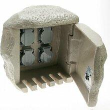 4fach Steinsteckdose für Direktanschluss an Erdkabel Steckdose Stein Gartensteckdose Steinform