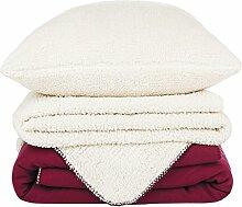 4Home 203267 Soft Blanket Set + Pillow-Case Gratis, 70 x 90 cm, 140 x 200 cm, 90 x 200 cm, Polyester, Purple, 200 x 140 x cm