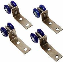 4Pcs Blau Kunststoff Doppelrädern Design Schiebetür Roller Pulley für Kabine